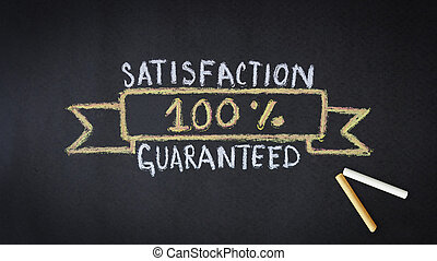100 percent Satisfaction chalk drawing on dark background