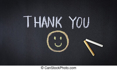 Thank You - Thank you chalk drawing with smiley face