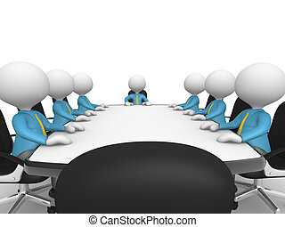 conference table - 3d people - men, person at conference...