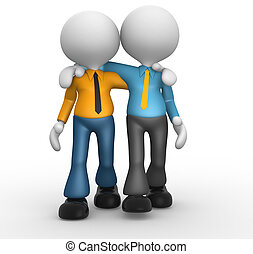 Friends  - 3d people - men, person together. Friends