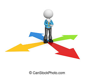 Directional signs - 3d people - man, person surrounded by...