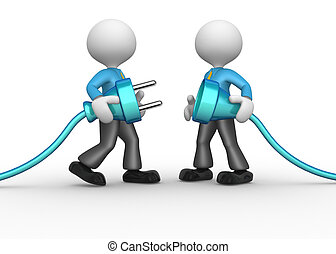 Electric plug - 3d people - men, person connecting a cable...