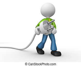 Electric plug - 3d people - man, person carrying in his hand...