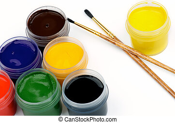 Watercolors and Paintbrushes - Arrangement of Containers...