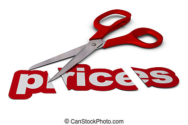 reducing prices, price cutting - word prices cut in three...