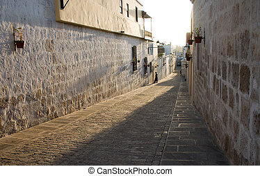 Street in Arequipa afternoon sunlight
