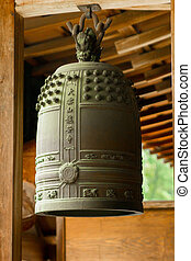 Traditional ancient Japanese bronze bell. Kyoto, Japan.