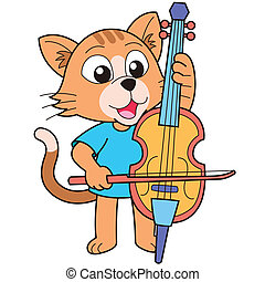 Cartoon Cat Playing a Cello - Cartoon cat playing a cello