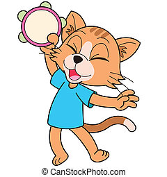 Cartoon Cat Playing a Tambourine - Cartoon cat playing a...