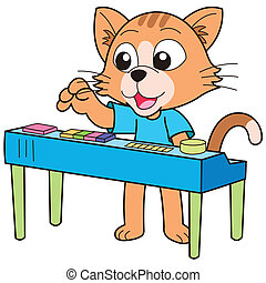 Cartoon Cat Playing an Electronic Organ - Cartoon cat...