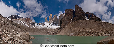 Torres del paine in Chilean National Park with lake PANORAMA