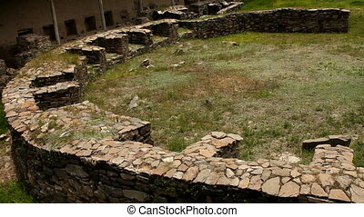 Construction in archaeological site - Round construction in...