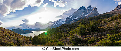 Torres del paine in Chilean National Park Los Cuernos with...