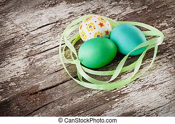 Eier, Holz, Ostern, hintergrund