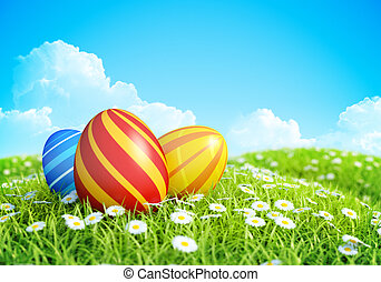Easter Background eggs on meadow - Easter Background with...