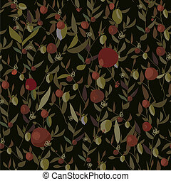 Seamless leaves and flowers pattern with apples