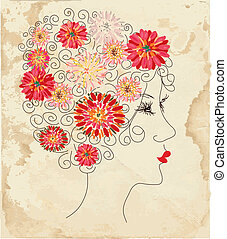 Fashion girl floral head on the paper texture