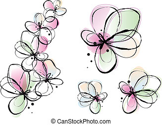 abstract watercolor flowers, vector - abstract ink and...