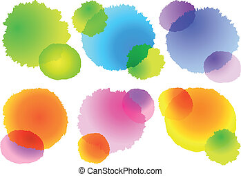 watercolor splashes, vector set - set of abstract colorful...