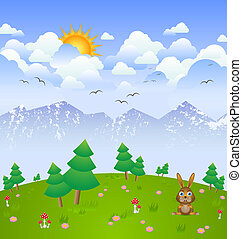 Cloudy day landscape - Idylic cloudy day landscape with...