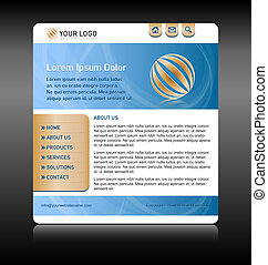 Website template layout - Easy customizable blue and gold...