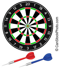 darts game - Darts with dartboard on a white background....