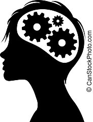 Thinking gears in head silhouette - Woman silhouette with...