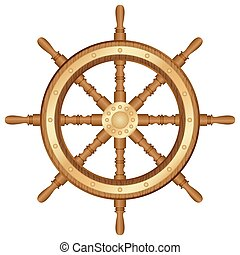 helm wheel - Helm wheel on white background Vector...