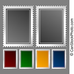 Postage stamp template in various color variations