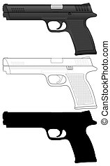 pistol set - Pistol set on a white background Vector...