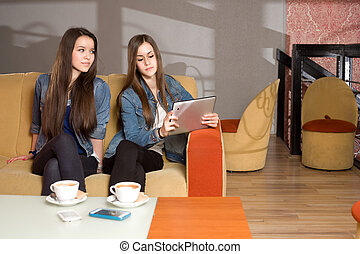 Lost in communication. - Two girls loosing communication...
