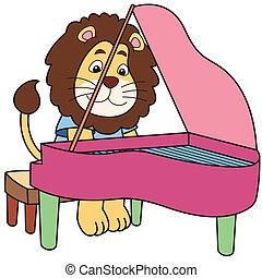 Cartoon Lion Playing a Piano