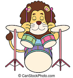 Cartoon Lion Playing Drums - Cartoon lion playing drums.