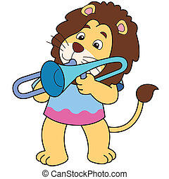 Cartoon Lion Playing a Trombone - Cartoon lion playing a...