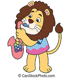 Cartoon Lion Playing a Saxophone - Cartoon lion playing a...