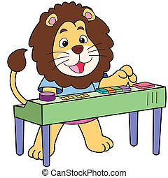 Cartoon Lion Playing an Electronic Organ - Cartoon lion...