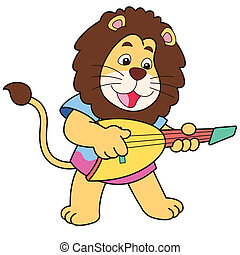 Cartoon Lion Playing an Electric Guitar - Cartoon lion...