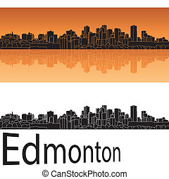 Edmonton skyline in orange background in editable vector...