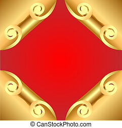 background with corners curl of gold - illustration...