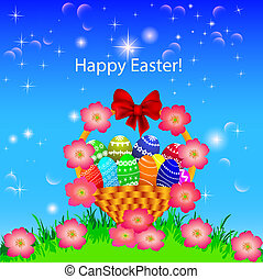 of a postcard in the Easter basket of eggs flower