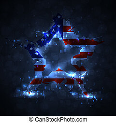 The abstract star with american flag, creative vector...