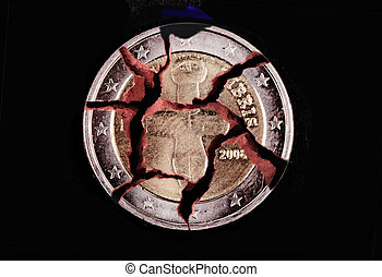 euro crisis - A Cyprus Euro coin on a black background