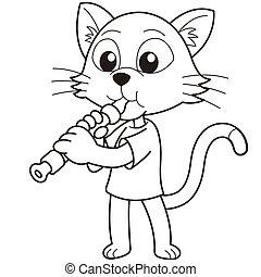 Cartoon Cat Playing an Oboe - Cartoon cat playing an...
