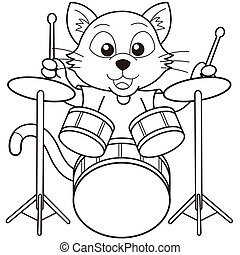 Cartoon Cat Playing Drums - Cartoon cat playing drumsblack...