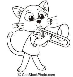 Cartoon Cat Playing a Trombone - Cartoon cat playing a...