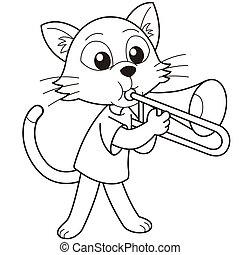 Cartoon Cat Playing a Trombone - Cartoon cat playing a...
