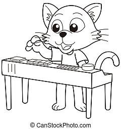 Cartoon Cat Playing an Electronic Organ - Cartoon cat...