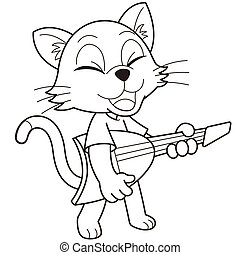 Cartoon Cat Playing an Electric Guitar