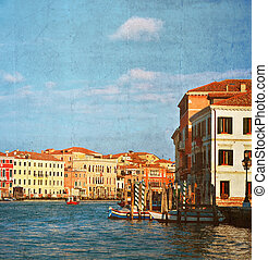 Grand Canal in Venice, Italy.Photo in old color image style.