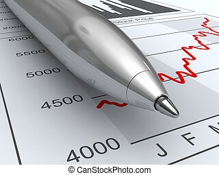 Stock market data - Close-up pen on stock price chart and...
